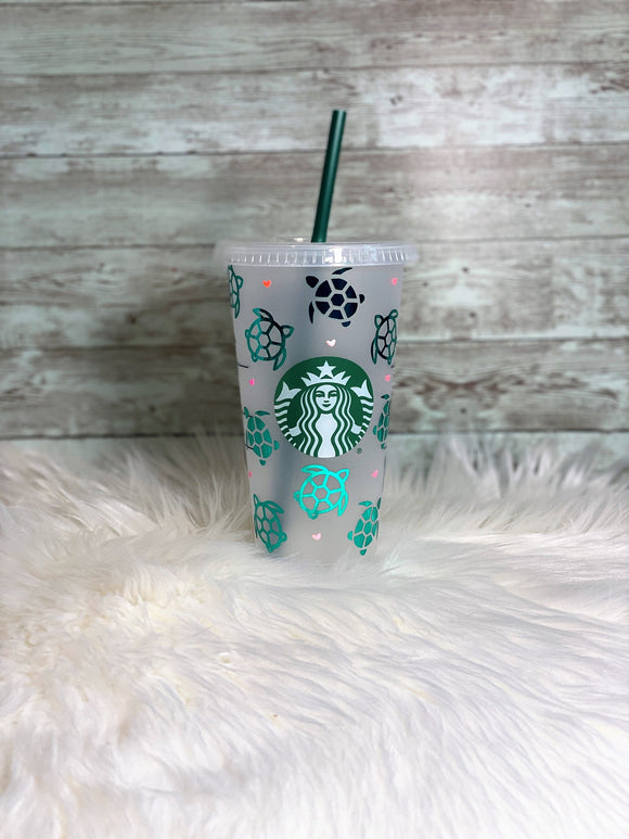 Personalized Turtle & Hearts | Turtle Love | Starbucks Cold Cup