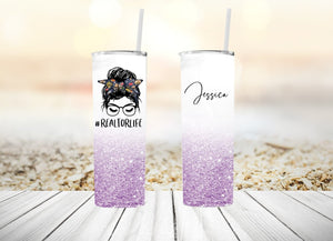 Personalized Realtor Life Tumbler with Bun & Lashes Other Colors Available| 20oz Skinny Tumbler with Metal Straw Free Priority Shipping
