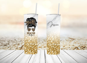 Personalized Leopard Print Realtor Tumbler | Bun & Glasses | Other Colors Available| 20oz Skinny Tumbler with Metal Straw Free Shipping