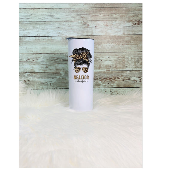 Leopard Print Realtor Tumbler | Bun & Glasses | Other Colors Available| 20oz Skinny Tumbler with Metal Straw Free Shipping