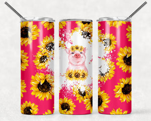 Pig and Sunflower Tumbler | 20oz Skinny Tumbler with Metal Straw - Free 2-3 Day Priority Shipping