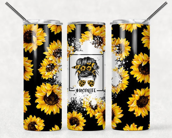 Sunflower Tumbler | #MomLife | Mom Life Tumbler | 20oz Skinny Tumbler with Metal Straw - Free 2-3 Day Priority Shipping