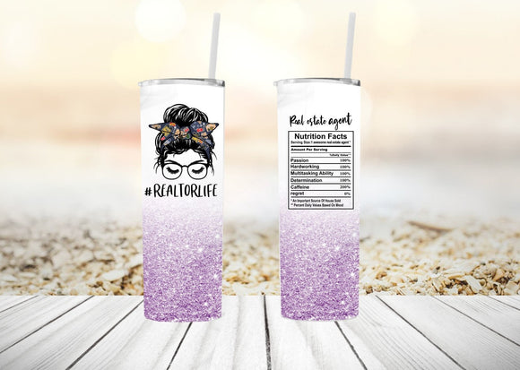 Realtor Life Tumbler with Bun and Lashes | Other Colors Available| 20oz Skinny Tumbler with Metal Straw - Free Priority Shipping