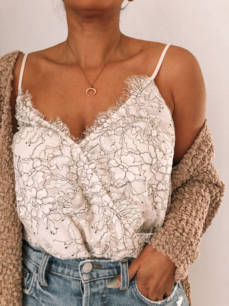Lace cami bodysuit available on top everyday wear online boutique, RefinedbyJM