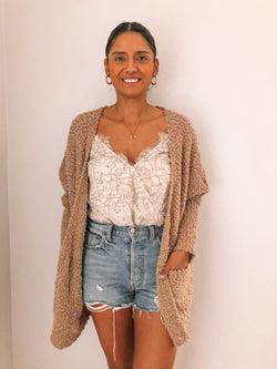 mocha popcorn cardigan available on top everyday wear online boutique, RefinedbyJM