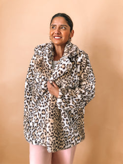 Leopard faux fur coat available on top everyday wear online boutique, RefinedbyJM