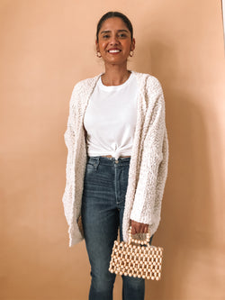 Cozy cream popcorn cardigan available on top everyday wear online boutique, RefinedbyJM