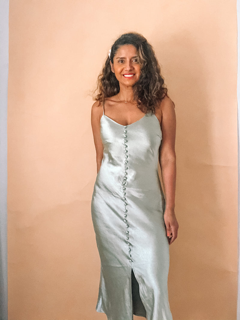Sage slip dress featured by top everyday wear online fashion boutique, RefinedbyJM