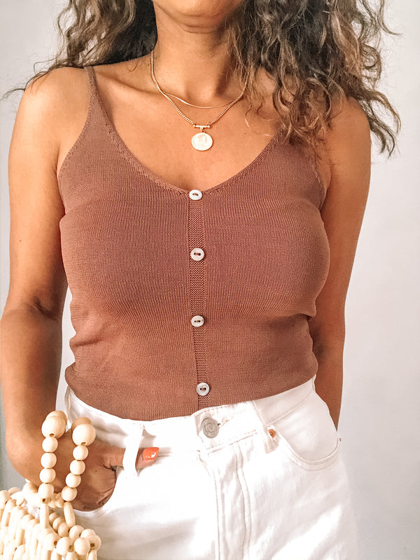 Mocha Knit tank top available on top everyday wear online boutique, RefinedbyJM