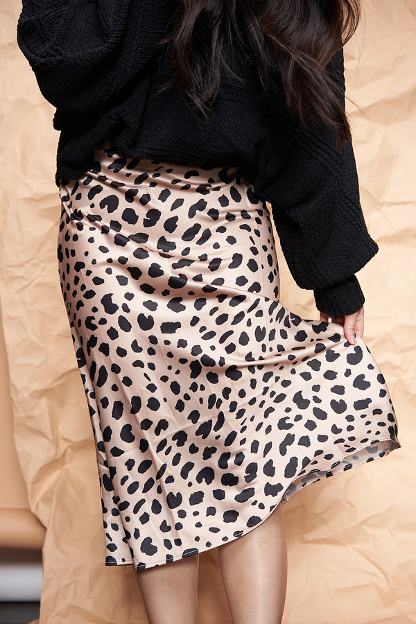 Satin leopard skirt featured by top everyday wear online boutique, RefinedbyJM