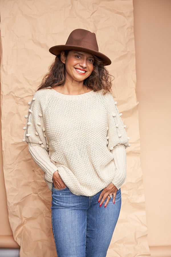 Super soft pom pom sweater featured by top everyday wear online boutique, RefinedbyJM