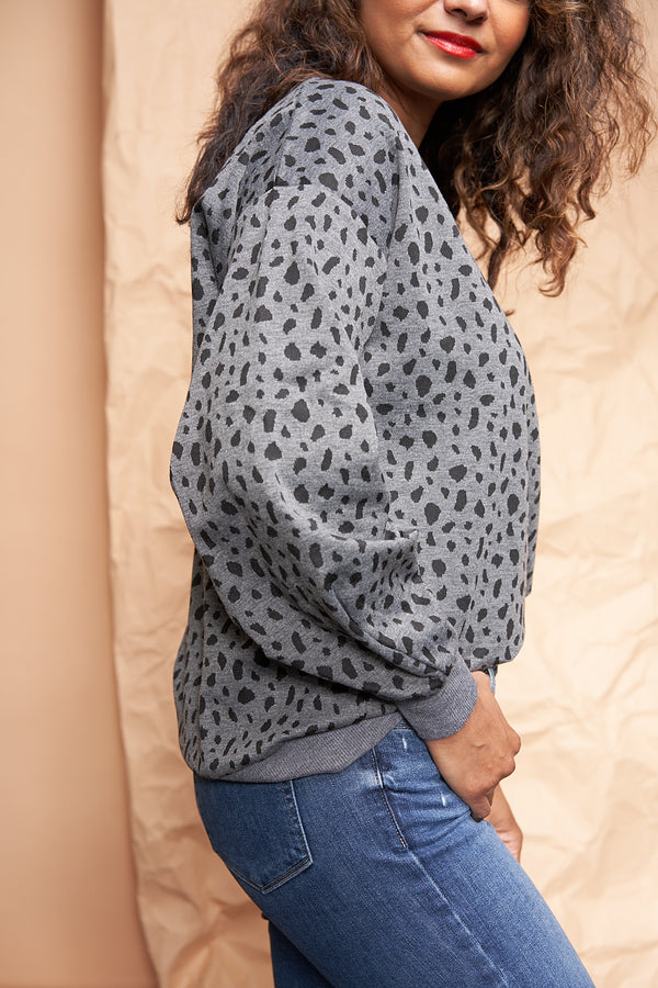 Animal Print Grey Sweater available on top everyday fashion online boutique, RefinedbyJM