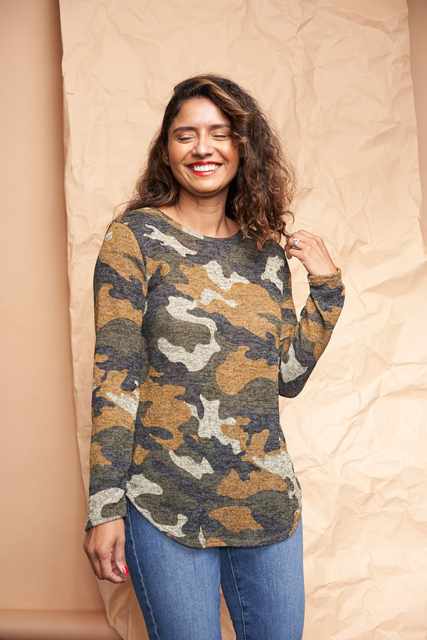 Long Sleeve Camo Shirt available on top US everyday fashion online boutique, RefinedbyJM