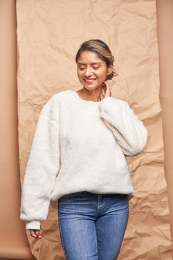 Winter White Oversized Sweater available on top everyday wear online boutique,  RefinedbyJM