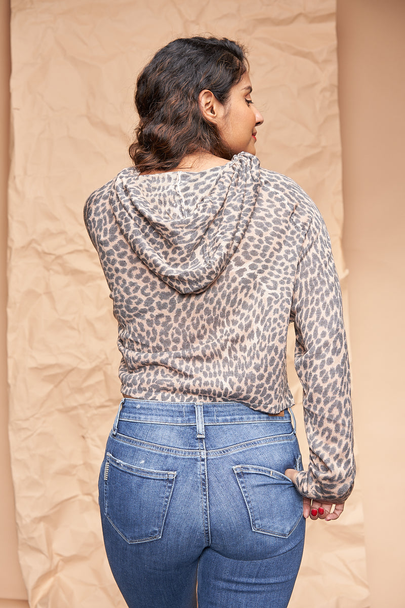 Leopard Print Hoodie Pullover available on top US everyday fashion online boutique, RefinedbyJM
