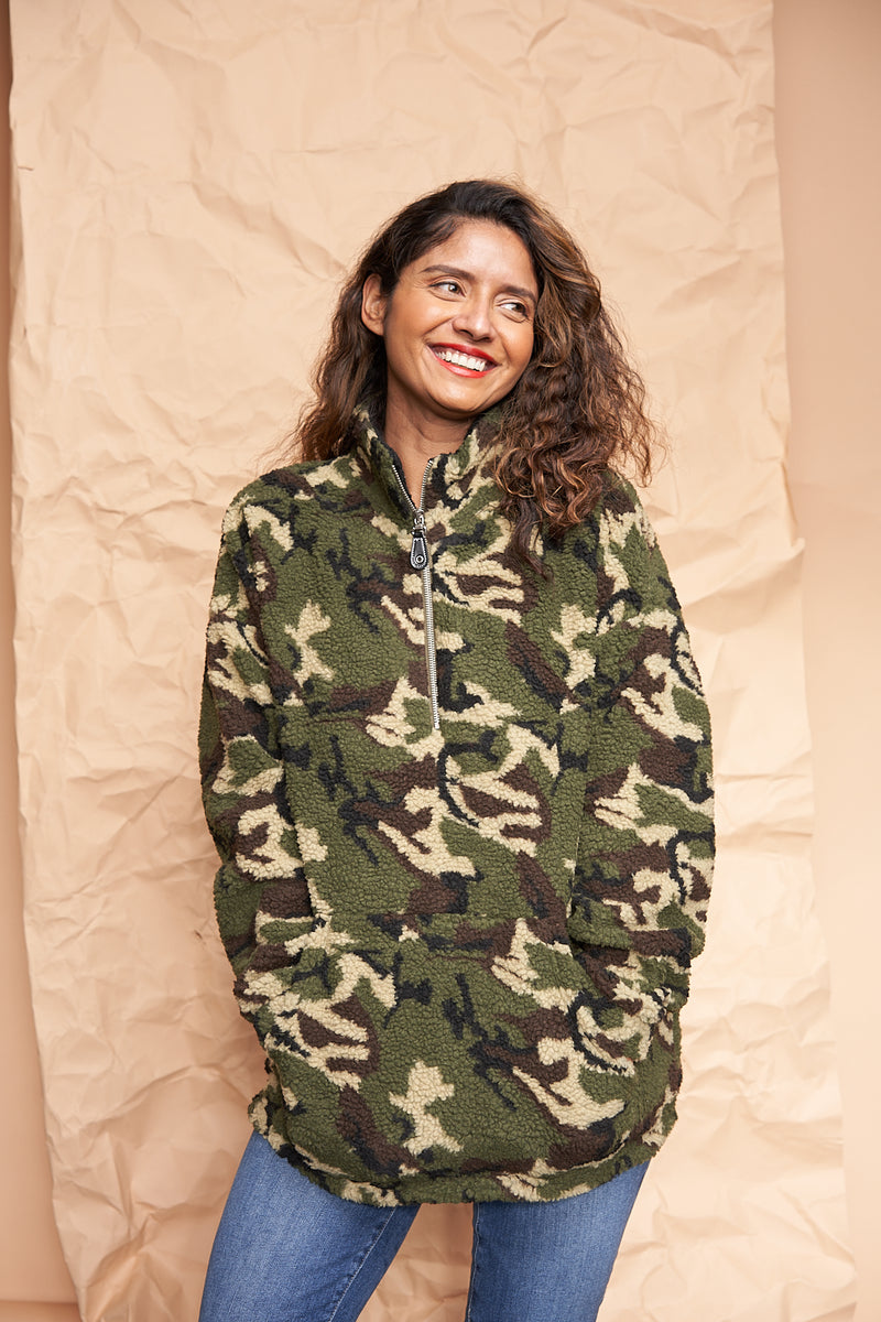 Camo Sherpa Sweater available on top US everyday fashion online boutique, RefinedbyJM