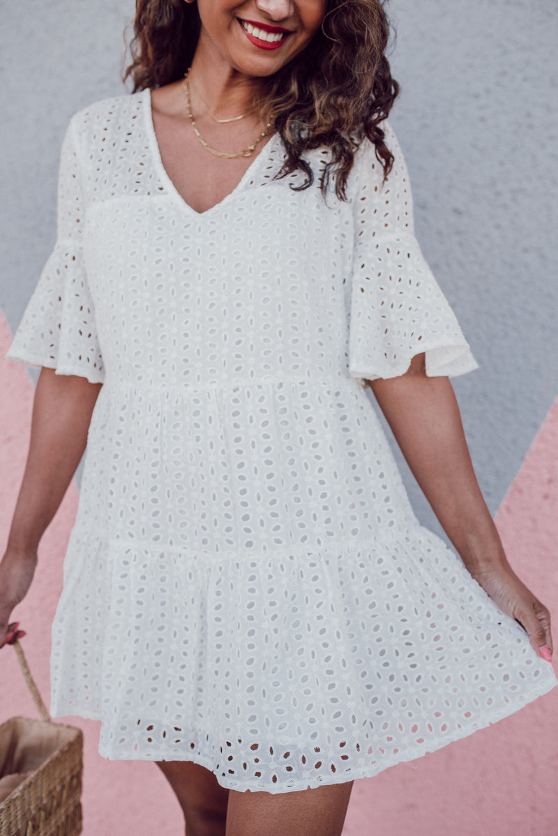 White babydoll dress featured by top everyday fashion boutique, Refined by JM