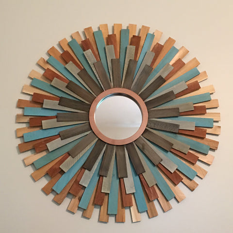 "31"" Wooden Sunburst Mirror (Teal Accent Color)"