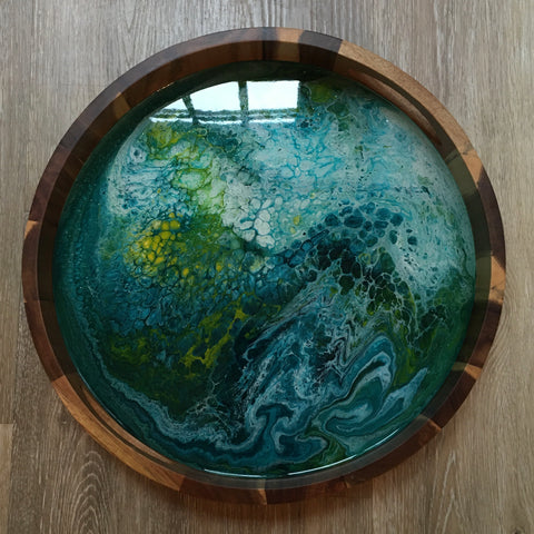Blue/Yellow/Green Abstract Round Wooden Tray 101 - Original Acrylic Painting on Acacia Wood Tray with High-Gloss Resin Finish