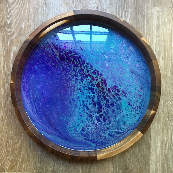 Aqua/Purple Abstract Round Wooden Tray 102 - Original Acrylic Painting on Acacia Wood Tray with High-Gloss Resin Finish