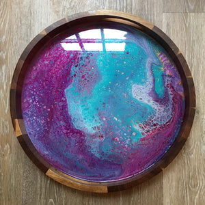 Magenta/Turquoise Abstract Round Wooden Tray 103 - Original Acrylic Painting on Acacia Wood Tray with High-Gloss Resin Finish