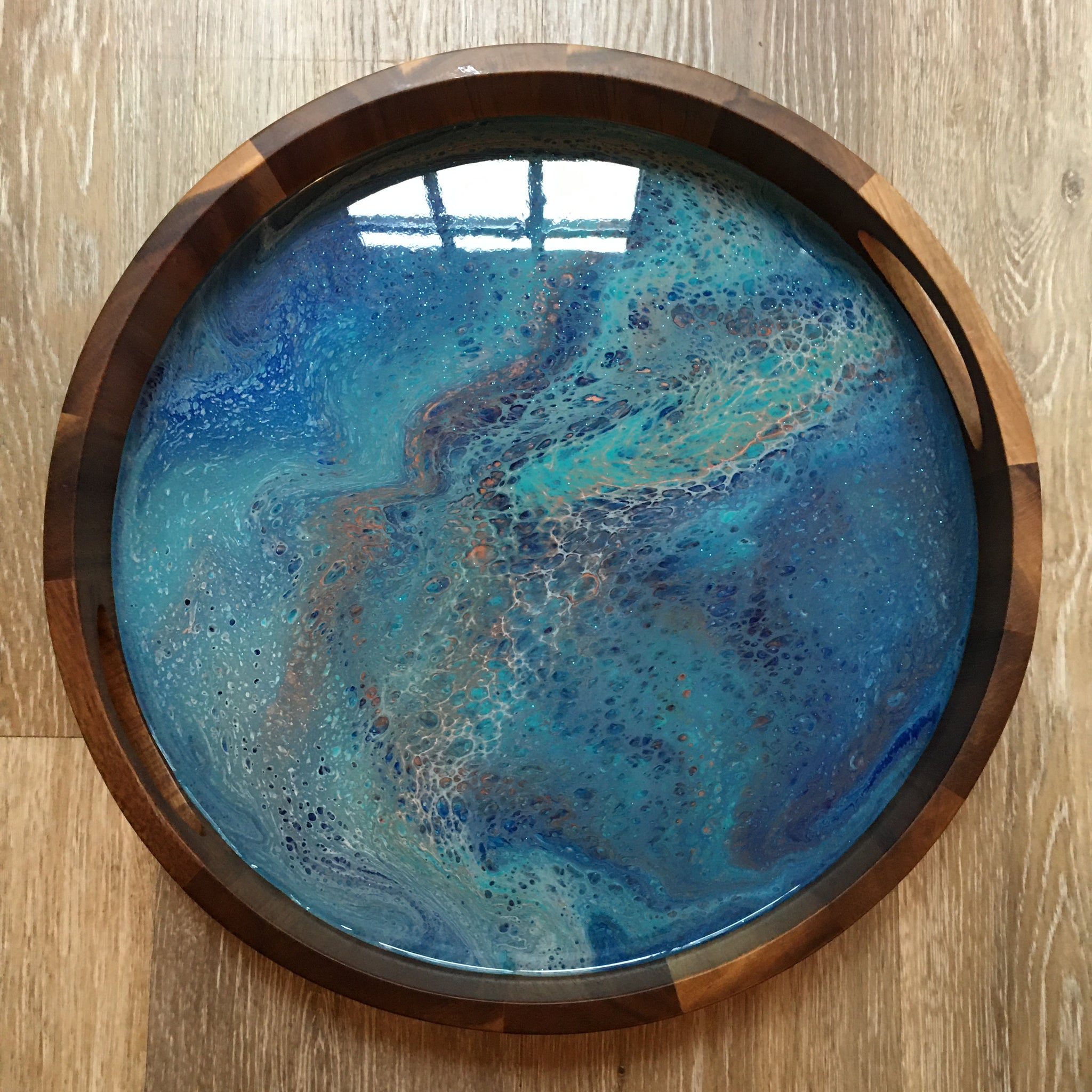 Blue/Aqua/Copper Abstract Round Wooden Tray 104 - Original Acrylic Painting on Acacia Wood Tray with High-Gloss Resin Finish