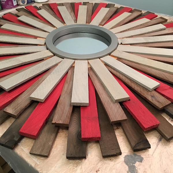 "31"" Wooden Sunburst Mirror (Red Accent Color)"