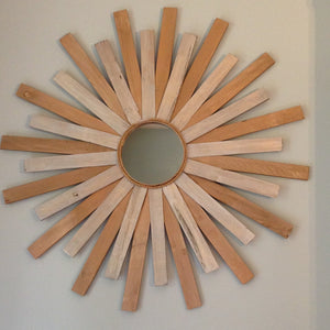 "29"" Wooden Sunburst Mirror in Metallics"
