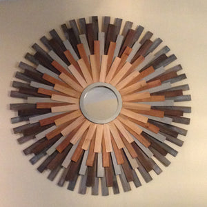 "39"" Wooden Sunburst Mirror"