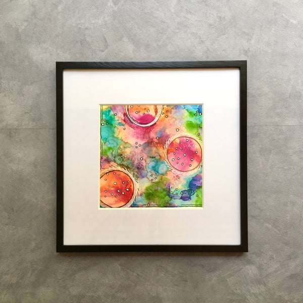 """Bubble Trio"" - Original Alcohol Ink Framed Painting"