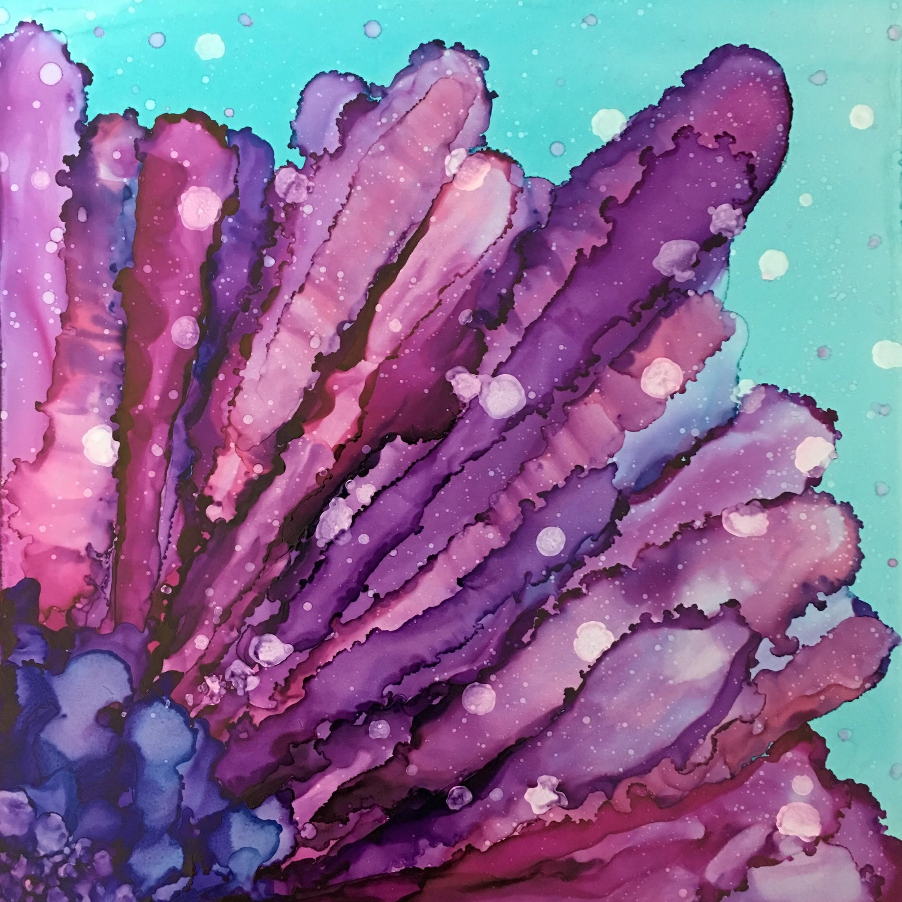 """Cathy's Sea Urchin"" - Original Alcohol Ink Framed Painting"