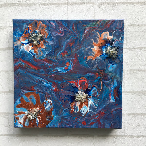 """Flower Bombs"" - Original Acrylic Painting with Glass Embellishments on Gallery Wrapped Canvas"