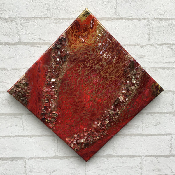 """Ring of Fire"" - Original Acrylic Painting and Glass Embellishments on Stretched Canvas with High-Gloss Resin Finish"