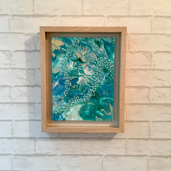 """Rip Tide"" - Original Acrylic Framed Painting with Stone Embellishments"