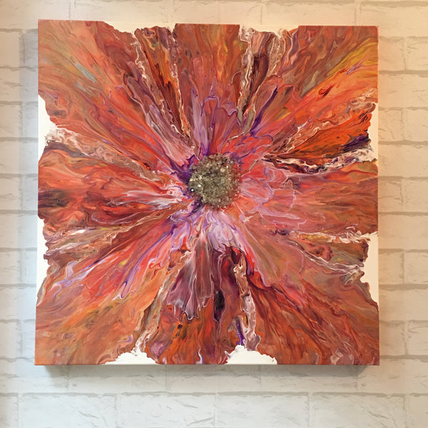 """Sunset in Bloom"" - 24""x24"" Original Acrylic Painting with Glass Embellishments on Gallery Wrapped Canvas"