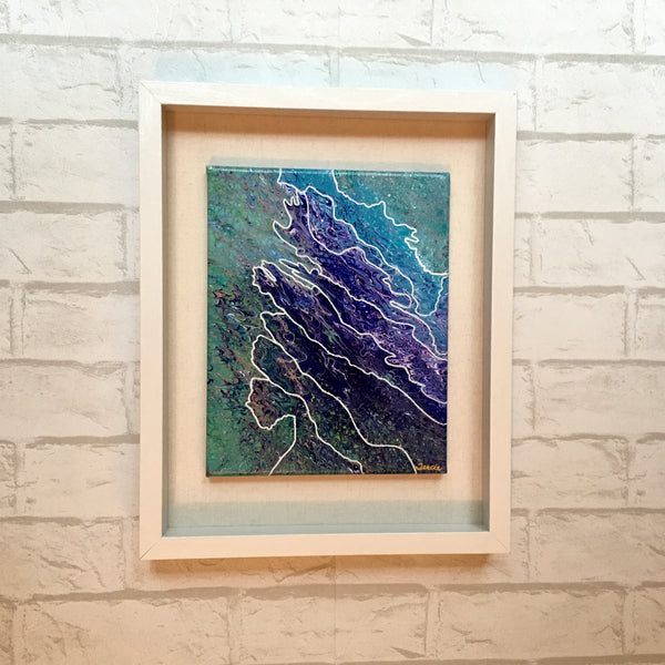 """Water's Edge"" - Original Acrylic Framed Painting with Hand-Drawn Embellishments"