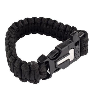 PARACORD BRACELET WITH WHISTLE, FLINT ROD & SCRAPER - BLACK