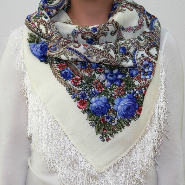 Bel Ami, blue - Woolen shawl/scarf - Medium