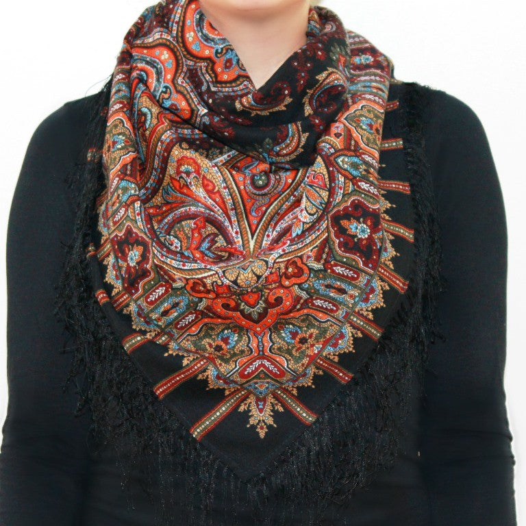 Saffron, black- Woolen shawl/scarf- Medium