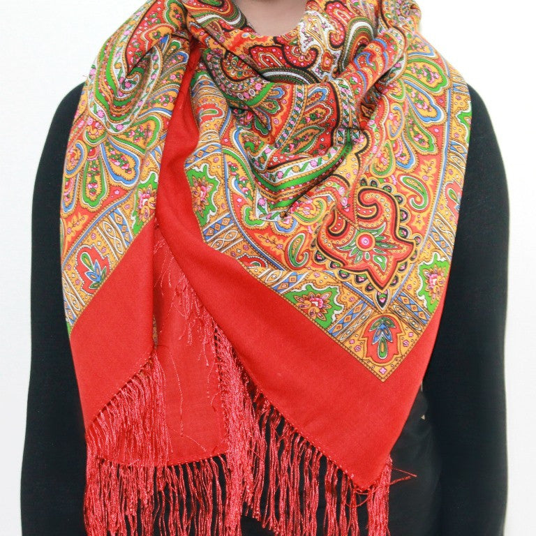 Classic, red - Woolen shawl/scarf - Large