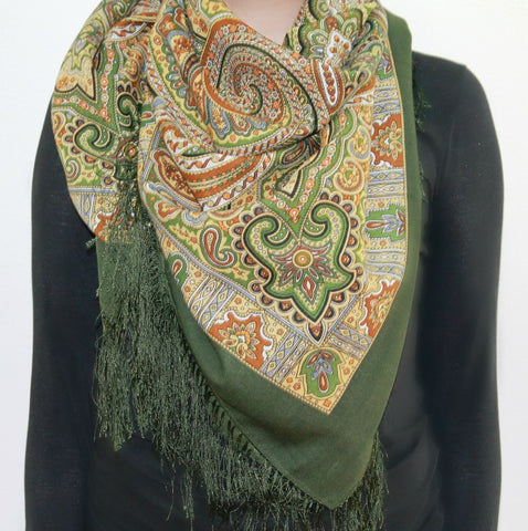 Classic, green - Woolen shawl/scarf - Large