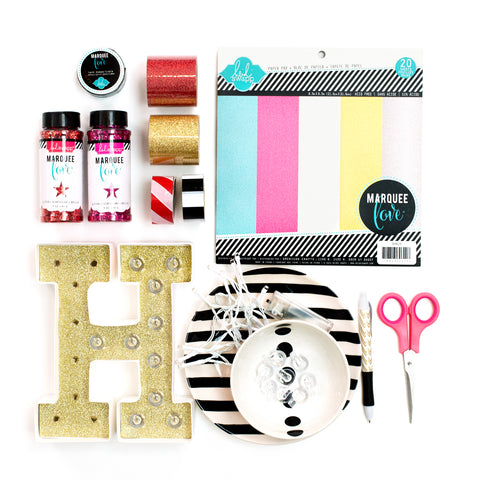 Ingredients to decorate light up letters