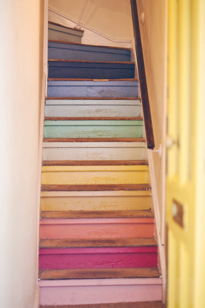Painted rainbow stairs