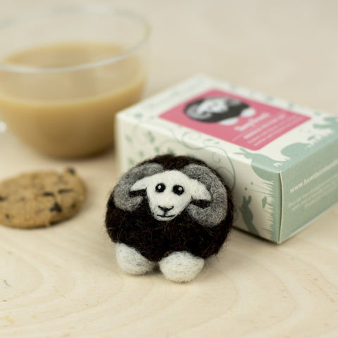 Black Sheep Brooch, Needle Felting Kit