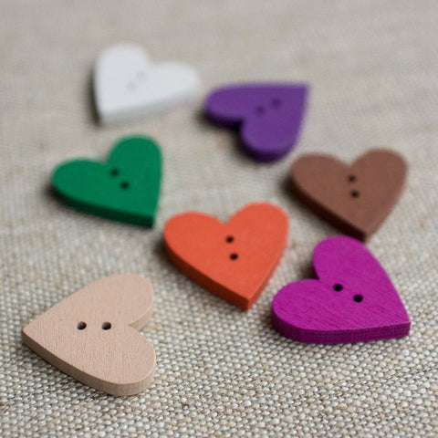 Button: Wooden Heart  (Various colours)