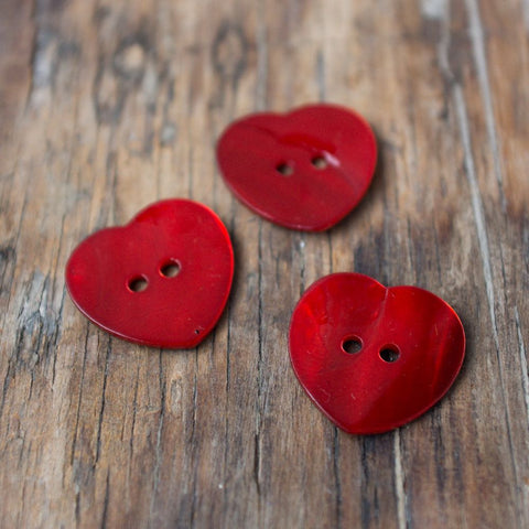 Mother of Pearl Heart Buttons (Various colours)