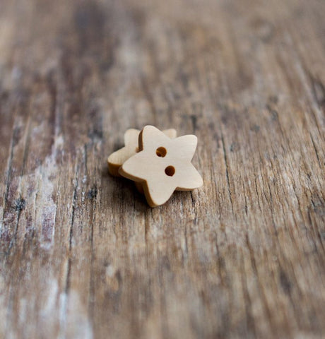Button: Wooden Stars (Various sizes)