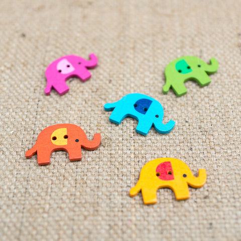 Wooden Elephant Button