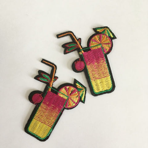 tropical cocktail iron on patch