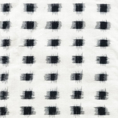 Black and Ivory Ikat Fabric
